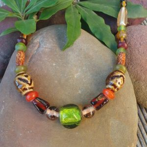 Trade Beads No.1, Brown & Lime