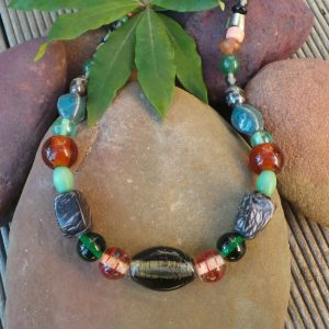 Trade Beads No.8, Grey & Jade