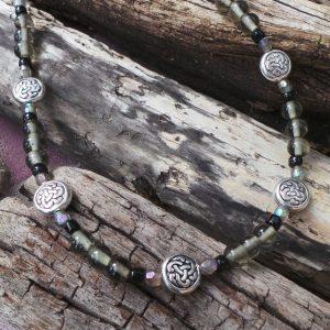 Celtic Knot Necklace & Earrings - Black