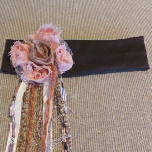 Boho Flower Headband - Brown/Peach