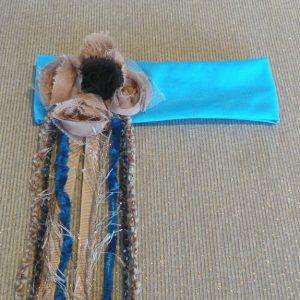 Boho Flower Headband - Aqua/Coffee