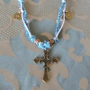 Medieval Style Cross Necklace, Blue/Silver/Brass