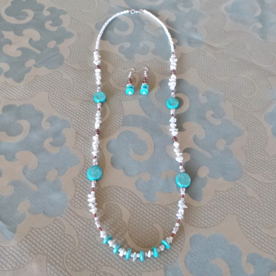 Positano Inspirations, Necklace and Earrings Set: Aqua & White