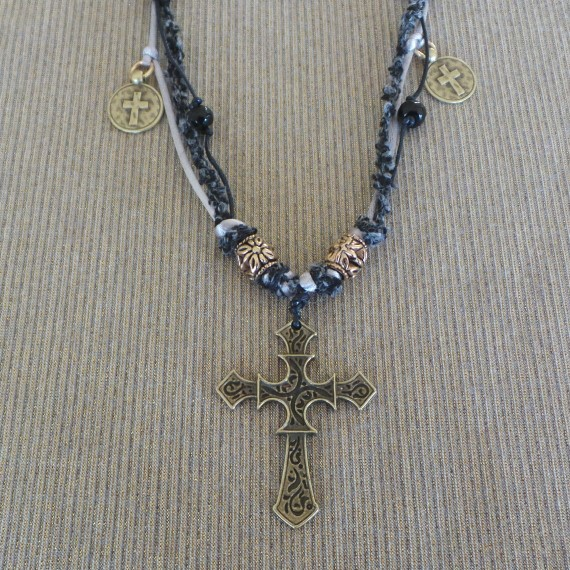 Medieval Style Cross Necklace, Black/Silver