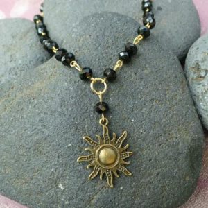 Sun Charm Necklace & Earring set, Black/Gold