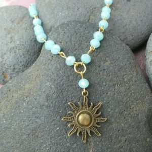 Sun Charm Necklace & Earring Set, Light Blue/Gold