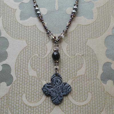 Venetian Inspirations, Long Necklace and Earrings: Black/Grey