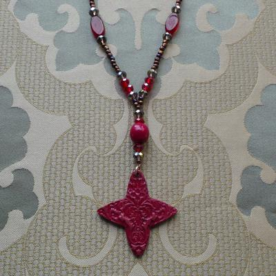 Florentine Inspiration, Long Necklace & Earrings: Plum/Ruby
