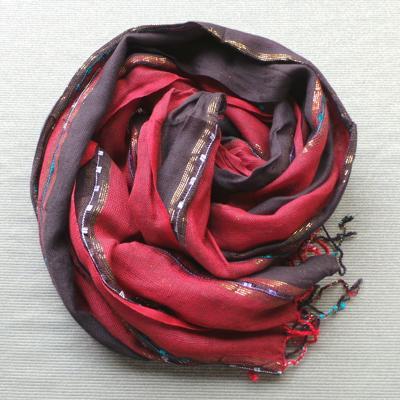 Scarf Cotton/Lurex - Brown & Red