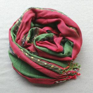 Scarf Cotton/Lurex - Green & Red