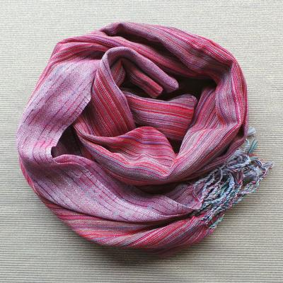 Scarf Cotton/Lurex - Mauve & White