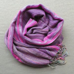 Scarf Cotton/Lurex - Mauve & Pink