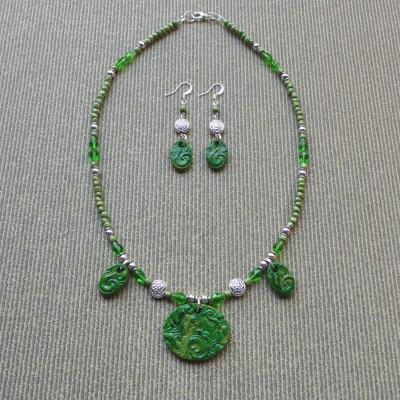 Galway Inspirations Necklace & Earrings Set: Forest