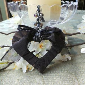 Wedding Charm, Heart - Black/Silver