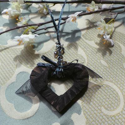 Wedding Charm, Heart - Black/Silver