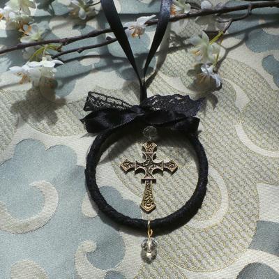 Wedding Charm, Cross - Black/Bronze