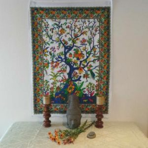 Altar Cloth, Tree of Life India - White/Blue