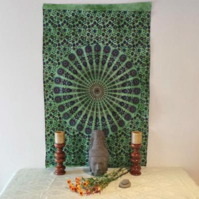 Altar Cloth, Mandala - Green/Purple