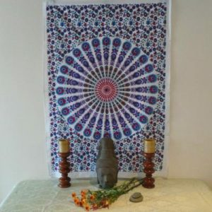 Altar Cloth, Mandala - White/Purple