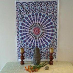 Altar Cloth, Mandala - White/Purple
