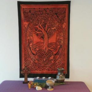 Altar Cloth, Tree of Life Celtic - Rust/Black