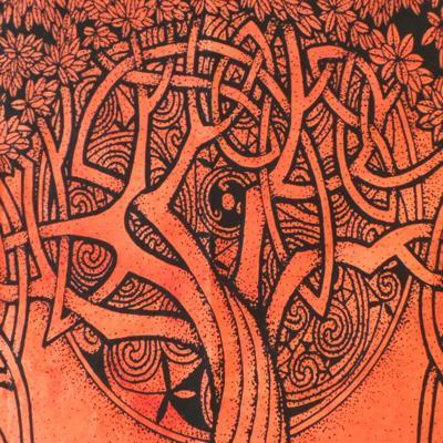 Altar Cloth, Tree of Life Celtic - Rust/Black