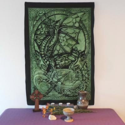 Altar Cloth, Dragon Runes - Green/Black