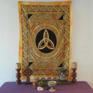 Altar Cloth, Celtic Trinity - Yellow/Black