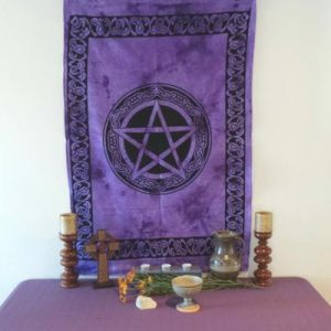 Altar Cloth, Pentagram Celtic - Purple/Black