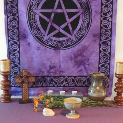 Altar Cloth, Pentagram Celtic - Purple/Black