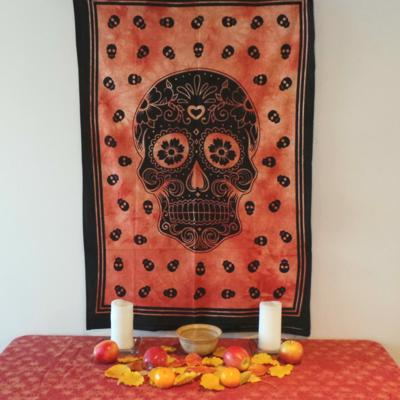 Altar Cloth, Day of The Dead - Orange/Black