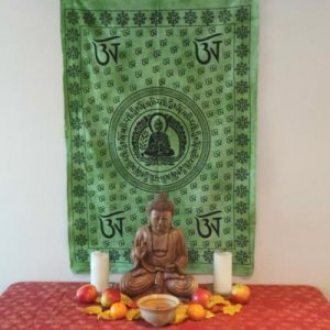 Altar Cloth, Buddha OM - Green/Black