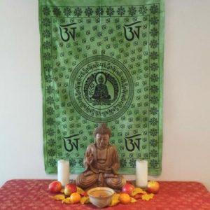 Altar Cloth, Buddha OM - Green/Black