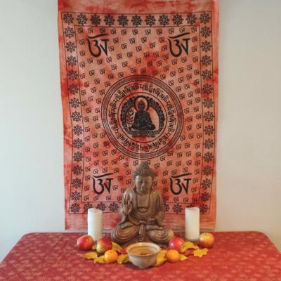 Altar Cloth, Buddha OM - Orange/Black