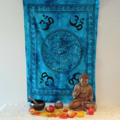 Altar Cloth, OM - Aqua