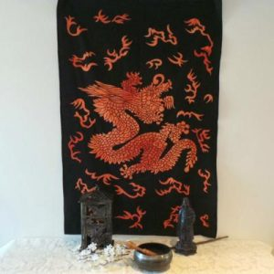 Altar Cloth, Chinese Dragon - Orange/Black