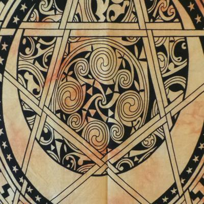 Altar Cloth, Pentagram Celtic - Black/Yellow