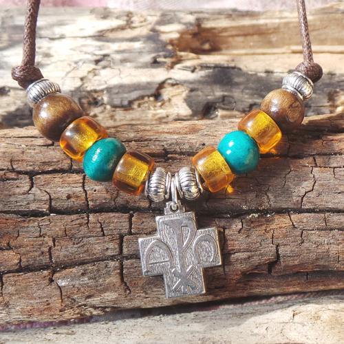 Alpha & Omega Cross, Amber/Green