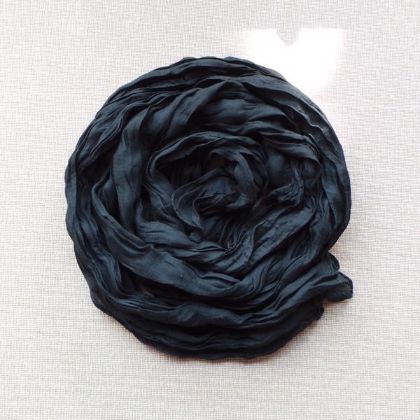Scarf Cotton Voil Crinkle, Black