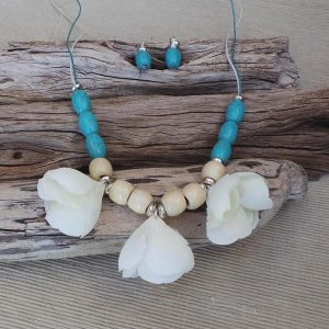 Torquay Inspirations Necklace Set - Turquoise/Cream