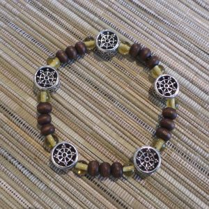 Buddhist Bracelet - Dharma Wheel, Brown/Amber/Silver