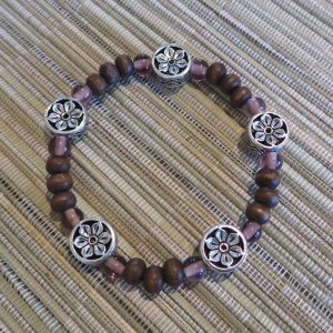 Buddhist Bracelet - Lotus, Brown/Mauve/Silver